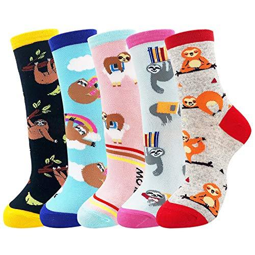 Belloxis Faultier Socken Damen, Lustige Bunte Socken Damen 35 – 38 Geschenk