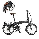 Fischer E-Bike Faltrad, graphitschwarz matt, 20 Zoll, Hinterradmotor 25 Nm, 36V Akku im Rahmen