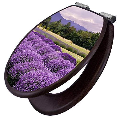 banjado Toilettensitz mit Absenkautomatik | WC-Sitz mit Motiv Lavendel | Toilettendeckel MDF...