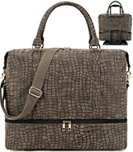 Weekender Overnight Bag MensTravel Tote with Shoes Compartment and Trolley Sleeve on Suitcase Brown