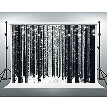 Winter Woods Backdrop Snowy Forest Background Winter Wonderland Party Decorations 7x5ft Photo Booth Studio Props ZYVV0786