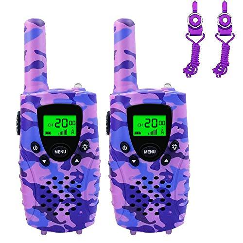 Walkie Talkies, Niños PMR 446 MHz 0.5W 8 Canales, LCD Pantalla Función VOX Linterna Incorporado con Larga Distancia, Regalos de Cumpleaños Juguetes de Niñas