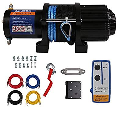 Wireless 4500 LBS Electric Winch with 15m Synthetic Rope, 12V DC Recovery Winch Fit for Jeep Truck ATV/SUV Towing Road Trailer, Mounting, Waterproof IP67, Handheld Remote Control Kit & Corded Control