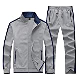 KASUNA Men's Joggers Sports Set Slim Fit Young Track Suit Outwear Light Grey XL