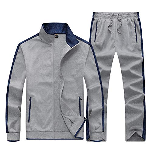 Mens Track Sets Gym Suits Jogger Sets for Men Athletic Sweatsuit Full Zip Casual Suit Winter Fall Tracksuit 2 Piece Sets Navy