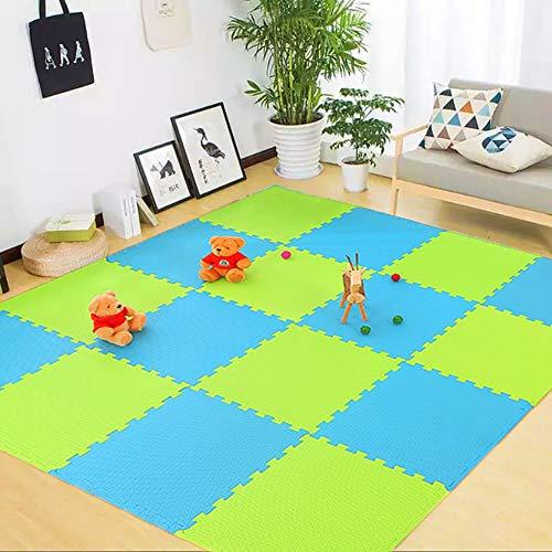 lulupila Puzzlematten Spielmatten Krabbelmatten Spielteppich Schutzmatten 20er Set Matte Unterlegmatten Bodenschutz Matten Trainingsmatten Gymnastikmatten Yogamatten (Grün+Blau)