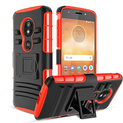 Moto E5 Play Case,Moto E5 Cruise Case, Heavy Duty Shockproof Full-Body Protective Hybrid Case Cover w/Kickstand, Red