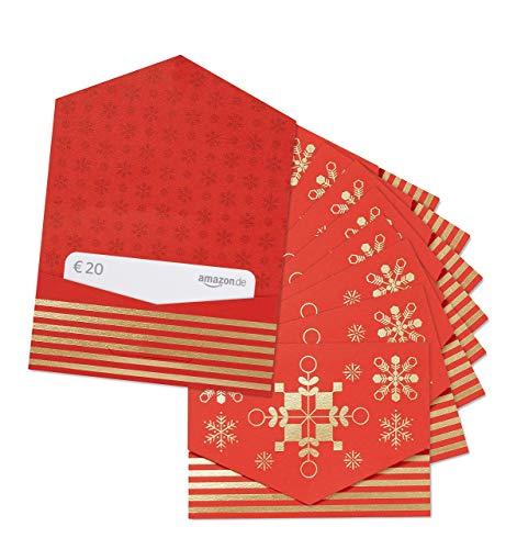 Amazon.de 20€ Geschenkgutschein im 10er Multi-Pack (Geschenkkuvert Rot und Gold)