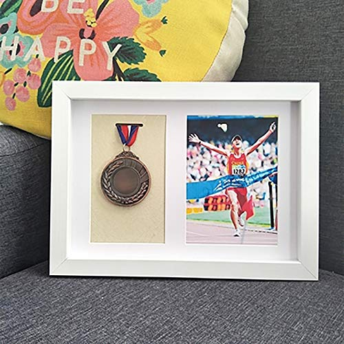 zzjj Pure Solid Wood Medal Display Frame,Sports Medal 3D Box Photo Frames,Shadow Box Frame Display Case For Awards Medals Photos And Memorabilia - Wood Color A4 Three Medals
