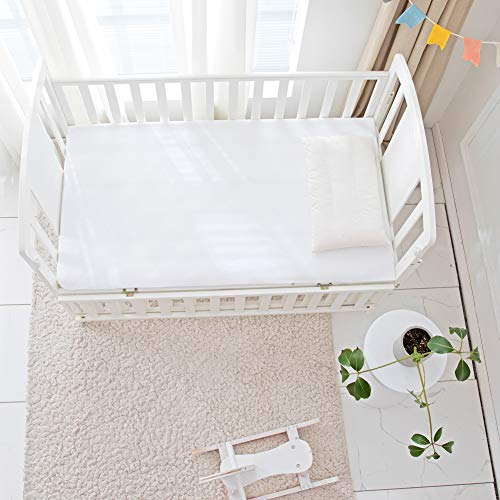 """Flannel Crib Protector Pad, Reusable Washable Incontinence Bed Underpads ,100% Water Resistant Utility Cotton Mattress Protector Pad, Solid White Waterproof Diaper Pad, One Size, 27"""" X 50"""""""