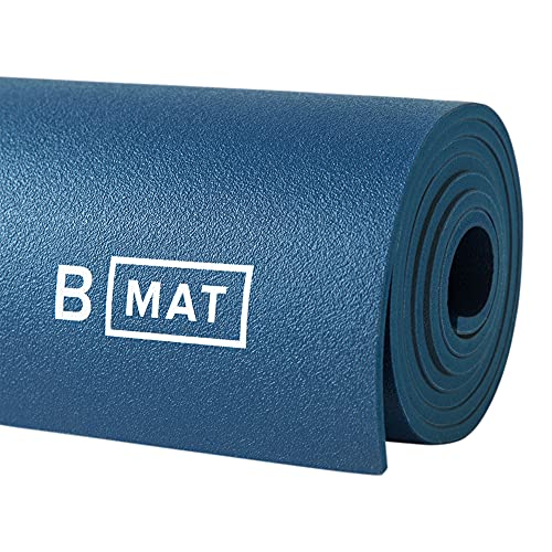 """B YOGA Mat for Men and Women, 6mm Thick, 71"""" x 26"""", Deep Blue - 100% Rubber, Non-Slip Floor Workout Mat for Yogis, with Superior Cushioning for Comfort - Premium Fitness and Pilates"""