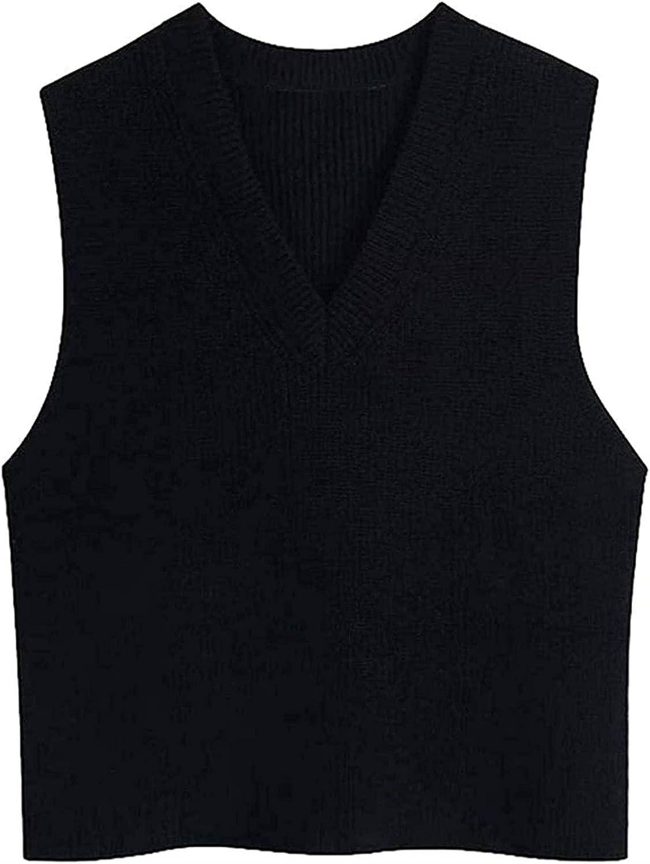 Women Fashion Office Wear Black Vest Sweater Vintage V Neck Sleeveless Female Waistcoat Chic Tops