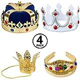 Tigerdoe Kings Crown - 4 Pack - Royal King Crowns...