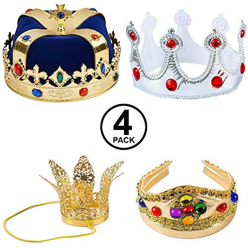 Tigerdoe Kings Crown - 4 Pack - Royal King Crowns and Princess Tiara - Costume Accessories (4 Pack Crowns Blue)
