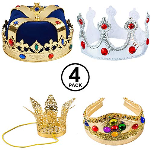 Tigerdoe Kings Crown - 4 Pack - Royal King Crowns and Princess Tiara - Costume Accessories (4 Pack Crowns Blue)