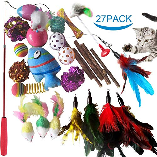 SenYoung 27PCS Cat Toys Kitten Toys, Interactive Cat Toy Set including Cat Teaser Wand, Catnip Fish,...