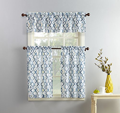 No. 918 51105 Barker Geometric Print Microfiber 3-Piece Kitchen Curtain Set, 54' x 36', White