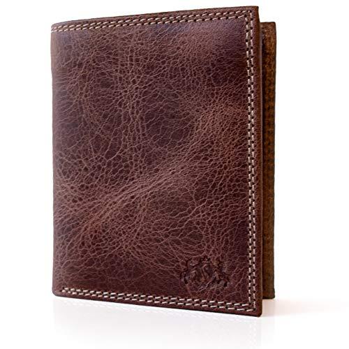 SID & VAIN Geldbeutel echt Leder Jack Hochformat Brieftasche Geldbörse Ledergeldbeutel Unisex braun