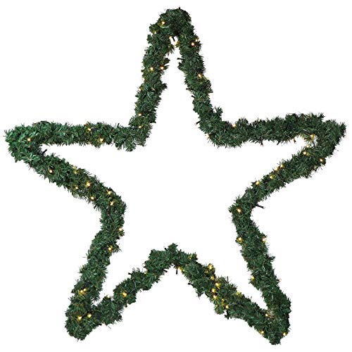 Stern Weihnachten 100cm aus Metall mit Girlande von 120 LED beleuchtet Strom zum Aufhängen