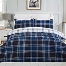 Sleepdown Juego de Cama edredón y Fundas de Almohada (230 x 220 cm), diseño de Cuadros, Color Azul Marino y Blanco, Polialgodón, Matrimonio