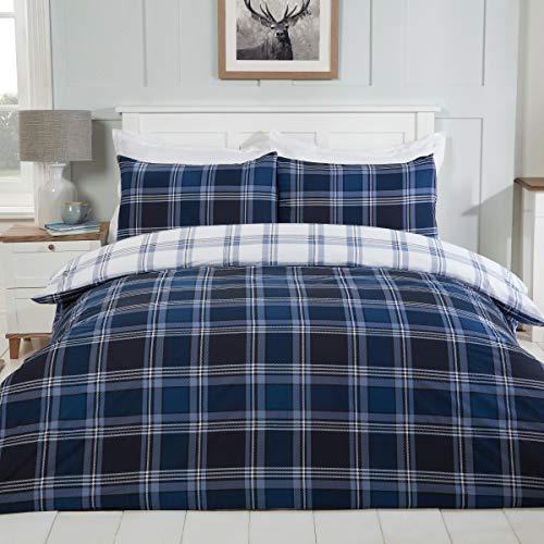 Sleepdown Juego edredón y Funda de Almohada para Cama Individual (135 x 200 cm), diseño de Cuadros, Color Azul Marino y Blanco, Polialgodón, Suelto