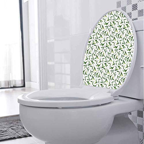 Toilet Seat Sticker/Lid Decal Green Leaves Healthy Herbal Toilet Lid Set Cover Paper Decor Sticker Decal for Toilet, W21xH28 cm