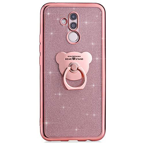 Ysimee Coque Compatible avec Huawei Mate 20 Lite Glitter Bling Paillette Silicone TPU Etui avec Anneau Support Chic Bord de Placage Gel Case Bumper Slim-Fit Souple Housse de Protection,Ours Or Rose