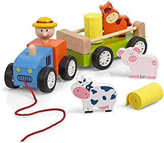 Tobar Wooden Pull Along Tractor, Multi-Colour, 23065