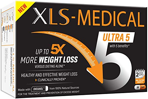 XLS-Medical Ultra 5 Weight Loss Capsules - Reduces Calories Absorbed from Dietary Fats, 84 Capsules, 2 Week Supply