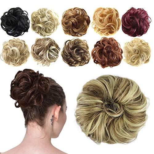 Feshfen Haargummi-Haarteil, für Haarknoten/Pferdeschwanz, Haarverlängerung, gewellt, unordentlicher Haarknoten, Dutt, Hochfrisur, Haarteil, A26 - Blonde & Medium Brown 86H10
