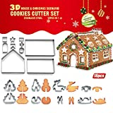 Bibettter 18 Pcs 3D Christmas Cake Gingerbread House Cookie Cutters Set(Stainless Steel), Biscuit Tool Baking Molds, Gingerbread House & Christmas Tree Snowman Sleigh Elk Shapes