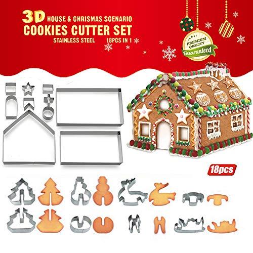 Bibettter 18-teiliges 3D-Ausstechformen-Set für Kuchen und Lebkuchenhaus (Edelstahl), Keks-Werkzeug Backformen, Lebkuchenhaus & Weihnachtsbaum Schneemann Schlitten Elch Formen