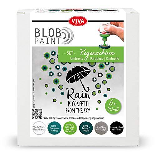 Viva Decor® Blob Paint Farbeset (Regenschirm) gebrauchsfertige Farben für Blob Painting/Dot Painting Art - Dotting Tool für Leinwand, Mandala uvm. - Made in Germany
