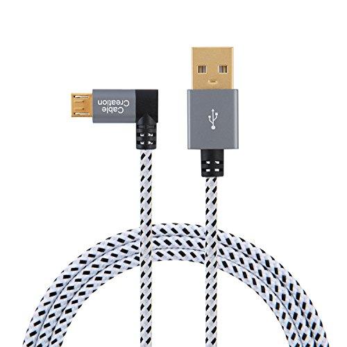 CableCreation Micro USB Kabel Winkel (10ft) Links Winkel Micro USB 2.0 geflochten Kabel, 90 Grad vertikal Links kurz USB 2.0 A Stecker auf Micro USB Stecker mit Aluminiumgehäuse, 15cm, Space Grau