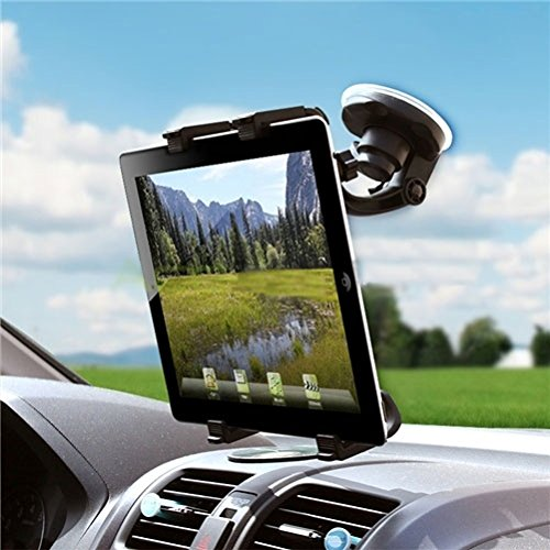 Car Mount Tablet Holder Windshield Swivel Cradle Compatible with ViewSonic ViewPad E72 (7) E100 9.7 10s (10.1) 10pi (10.1) - Visual Land Prestige 7L 7 10, Connect 9 7