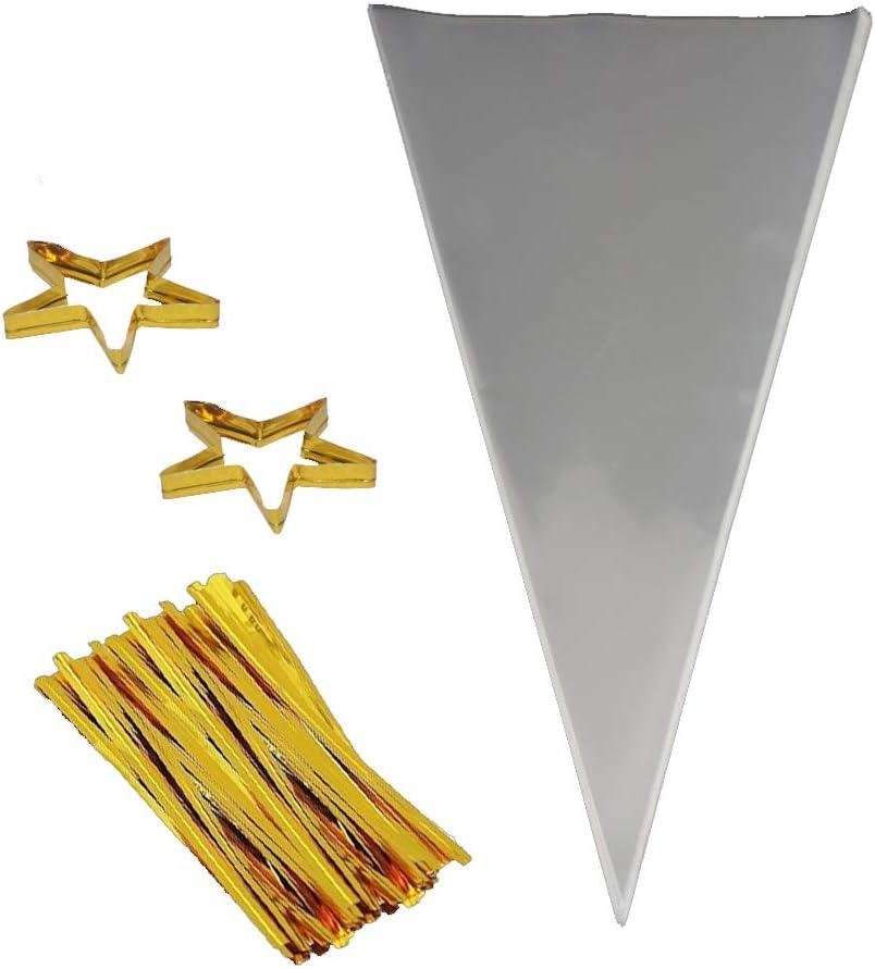 COOLAKE Clear Cone Bags 100PCS Cheap bargain Max 58% OFF Triangle Treat B Cellophane