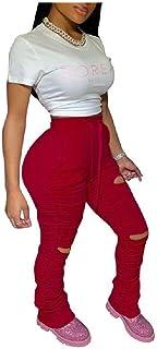 Women's Empire Waist Sport Big Pockets Draped Slim Casual Harem Pants