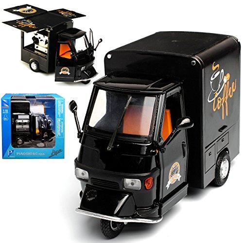 NEW Vespa Piaggio Ape Schwarz Kaffee Marktstand Mobile Cafe Bar Transporter 1/18 Ray Modell Auto mit individiuellem Wunschkennzeichen