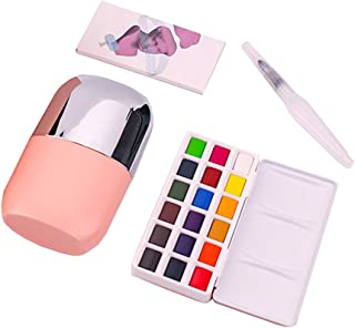 MIYA Solid Water Colors Palette - 18 Assorted Colors with Paint Brush Watercolor Paper Portable Travel for Beginners Artists Students Kids (Pink)