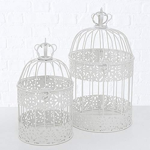 CasaJame Casa Arredamento Decorazione Accessori Design Set di 2 Gabbie per Uccelli Decorative Stile Shabby Chic Vintage Ferro Bianco A26-35cm