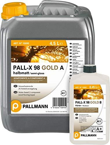 PALL-X 98 GOLD A+B halbmatt Parkettlack 4,95 L Parkettlack inkl. Härter Holzpflaster RE geschliffene Parkett- und Holzfußböden NEU