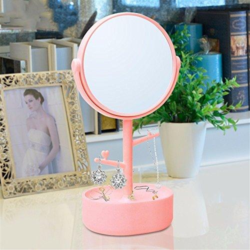 WanJiaMen'Shop Portagioie Specchio Doppio Specchio Vanity Portable cassettiera Specchio di stoccaggio Europee Specchio HD, Rosa