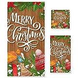 Vnurnrn Feliz Navidad Arbol Juego de Toallas para Baño Playa Toalla (1 Toalla de Baño y 1 Toalla de Mano y 1 Paño de...