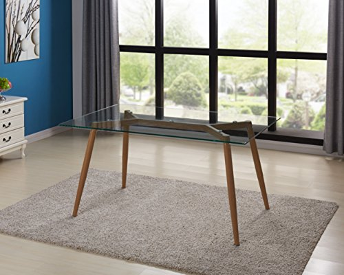 IDS Online Mid Century Glass Dining Table With Foot Pad, Office Desk, Size 51.18' X 31.50' X 29.53', Wooden Skin