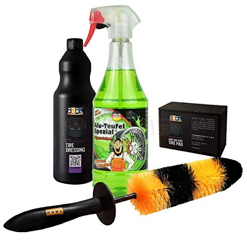 Tuga Chemie Alu Teufel Felgenreiniger + ADBL Applikator Pad + ADBL Felgenbürste + ADBL Reifengel I 4- teiliges Reinigungs Set