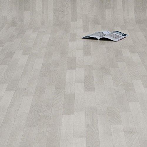 PVC Bodenbelag Holz Planken Weiss Gekalkt (Breite: 200 cm x Länge: 400 cm)