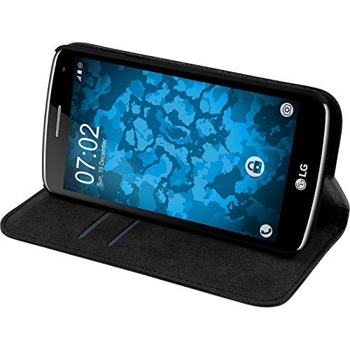 PhoneNatic Kunst-Lederhülle kompatibel mit LG K5 - Book-Hülle schwarz + 2 Schutzfolien