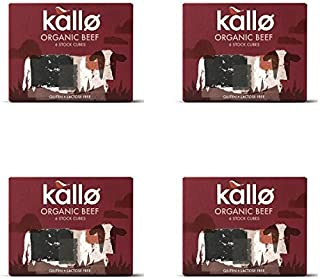(4 PACK) - Kallo Beef Stock Cubes - Low Salt & Organic| 51 g |4 PACK - SUPER SAVER - SAVE MONEY by Kallo Foods Ltd (Co No 0289301
