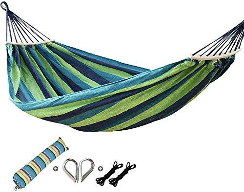 LBYLYH Hamacs Extérieur, Hamac Tissu Portable, Extérieur en Toile Souple, Double Voyage Camping Hamac, Terrasse, Le Camping,Vert