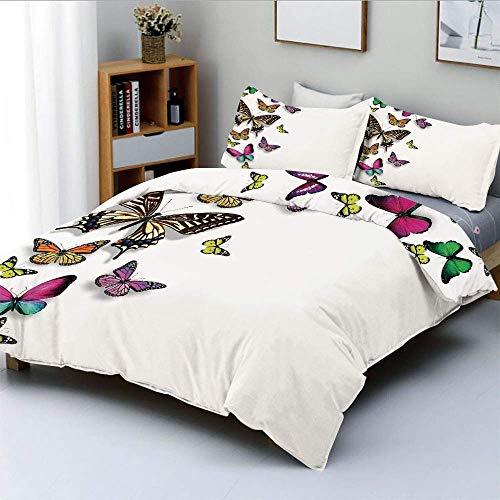 Smallgrid Juego de Funda nórdica, Varios tamaños, Mariposas, alas de Colores, Criatura sofisticada, Juego de Ropa de Cama Decorativo de 3 Piezas con 2 Fundas de Almohada, Multicolor, el mejo